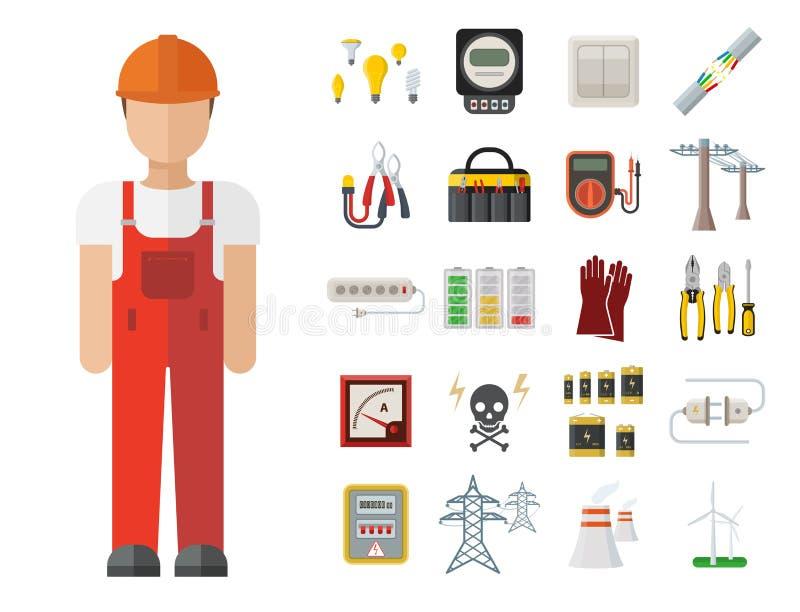 Säkerhet för fabrik för elektricitet för spänning för elektriker för illustration för batteri för symboler för makt för energiele stock illustrationer