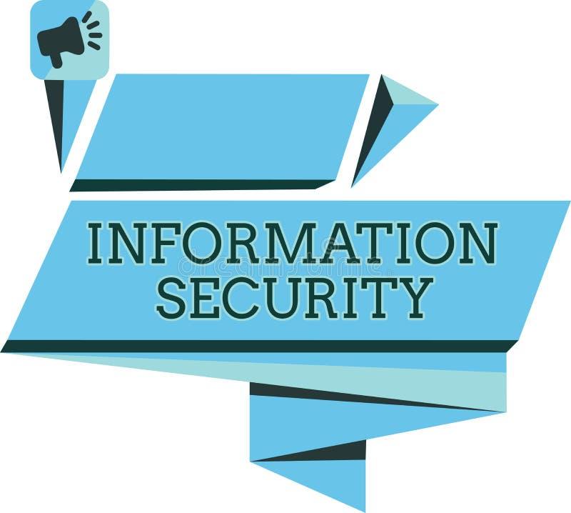 Säkerhet för information om handskrifttext Begrepp som betyder INFOSEC som förhindrar obehörigt tillträde som skyddas royaltyfri illustrationer