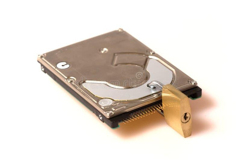 säkerhet för padlock för datadisk hård arkivbild