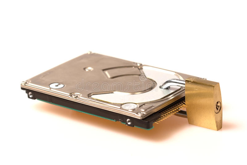 säkerhet för padlock för datadisk hård arkivfoton