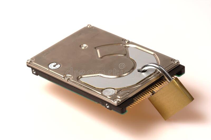 säkerhet för padlock för datadisk hård royaltyfri foto