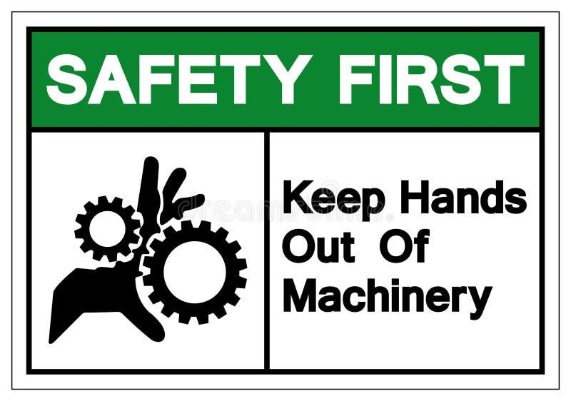 Säkerhet håller först händer ut ur maskinerisymboltecknet, vektorillustrationen, isolat på den vita bakgrundsetiketten EPS10 stock illustrationer
