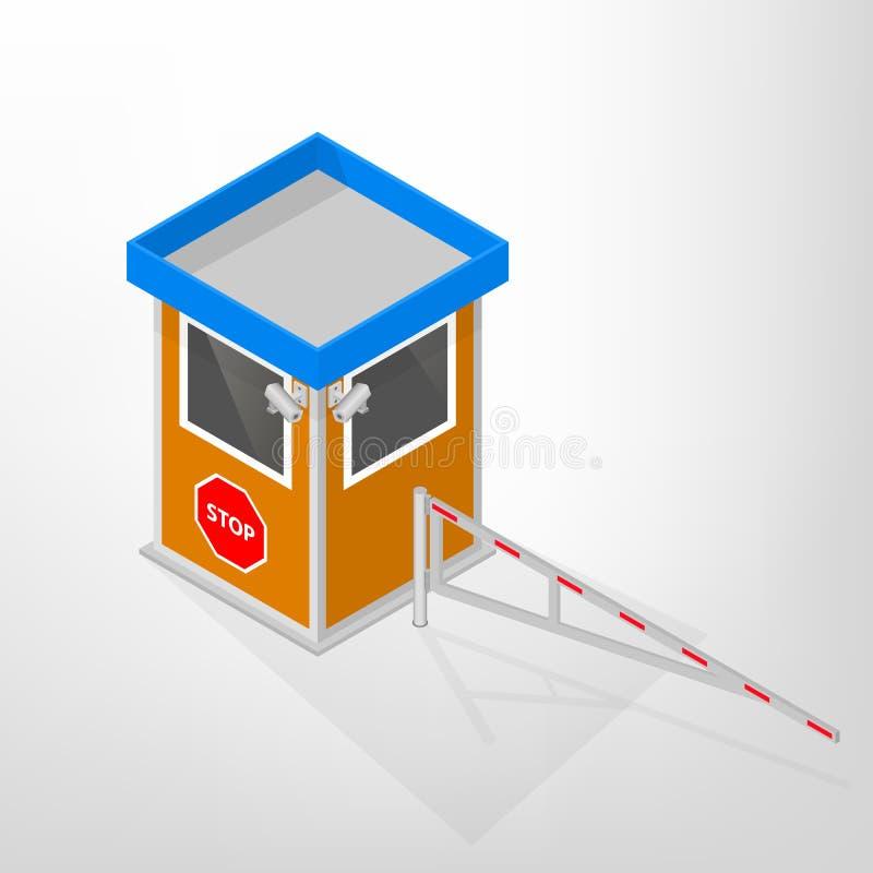 Säkerhet inkvarterar med en isometrisk mekanisk barriär, vektorillustration royaltyfri illustrationer