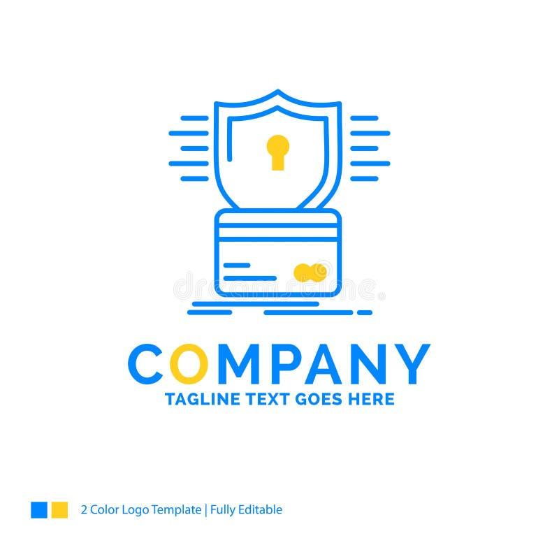 säkerhet kreditkort, kort, dataintrång, blå gul affär för hacka stock illustrationer