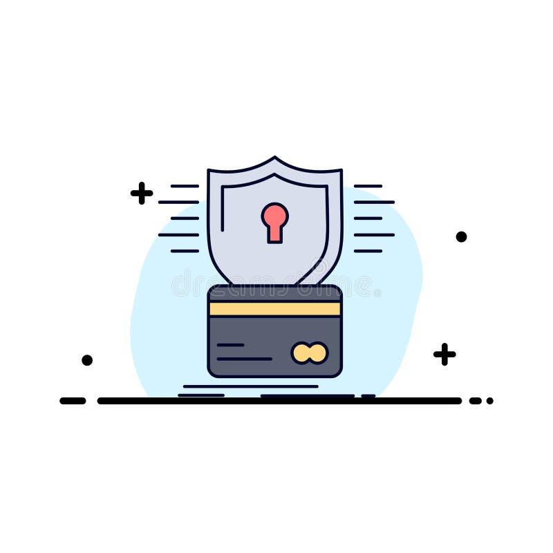 säkerhet kreditkort, kort, dataintrång, för färgsymbol för hacka plan vektor stock illustrationer