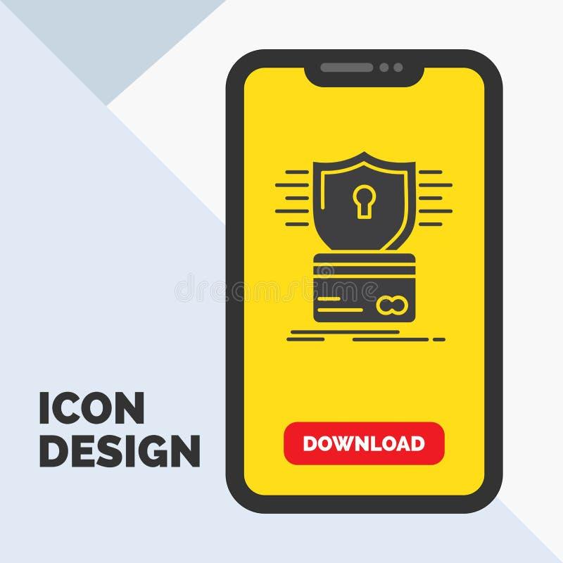 säkerhet kreditkort, kort som hackar, hackaskårasymbol i mobilen för nedladdningsida Gul bakgrund vektor illustrationer