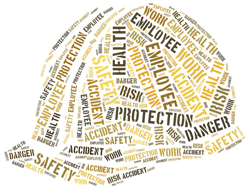 Säkerhet på arbetsbegreppet Collage för etikettsmolnbegrepp stock illustrationer