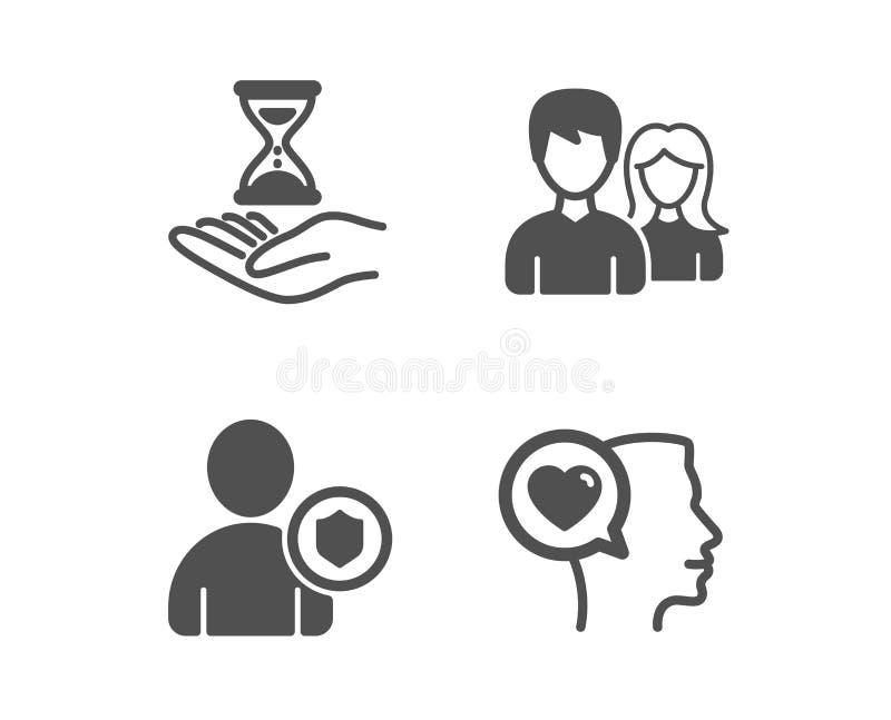 Säkerhet Tid timglas och att koppla ihop symboler Romantiskt samtaltecken Personskydd, sandklocka, man och kvinnligt vektor vektor illustrationer