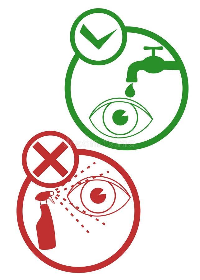 Säkerhetsögontecken royaltyfri illustrationer