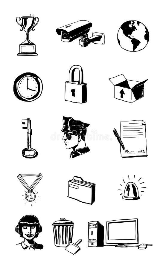 Säkerhets- och självlagringsPictograms vektor illustrationer
