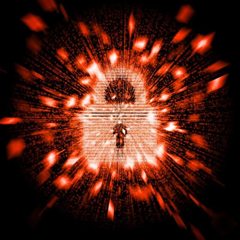 Säkerhetsbedriftbegrepp Det Digital blocklåset som skapas av binära nummer, anfallas och exploderar in i stycken av partiklar vektor illustrationer