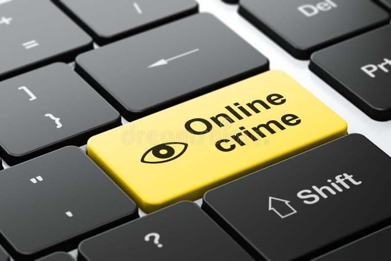 Säkerhetsbegrepp: Öga och online-brott på datoren royaltyfri foto