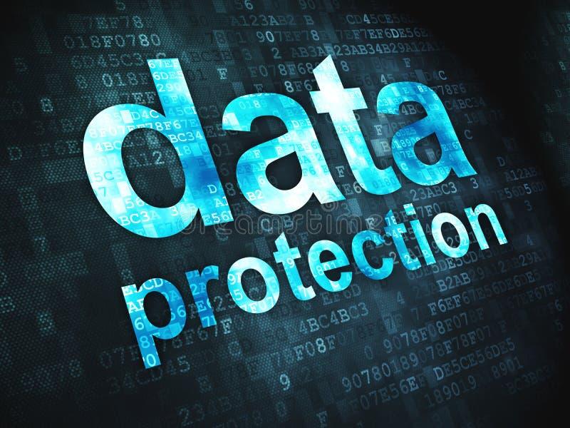 Säkerhetsbegrepp: Dataskydd på digitalt vektor illustrationer