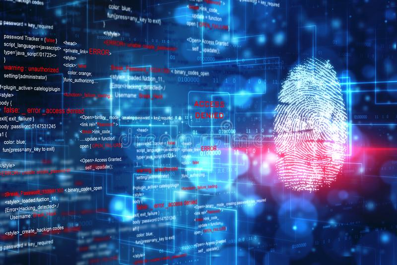 Säkerhetsbegrepp, fingeravtryck som avläser på den digitala skärmen Uttrycka av rött färgar lokaliserat över text av vit färgar stock illustrationer