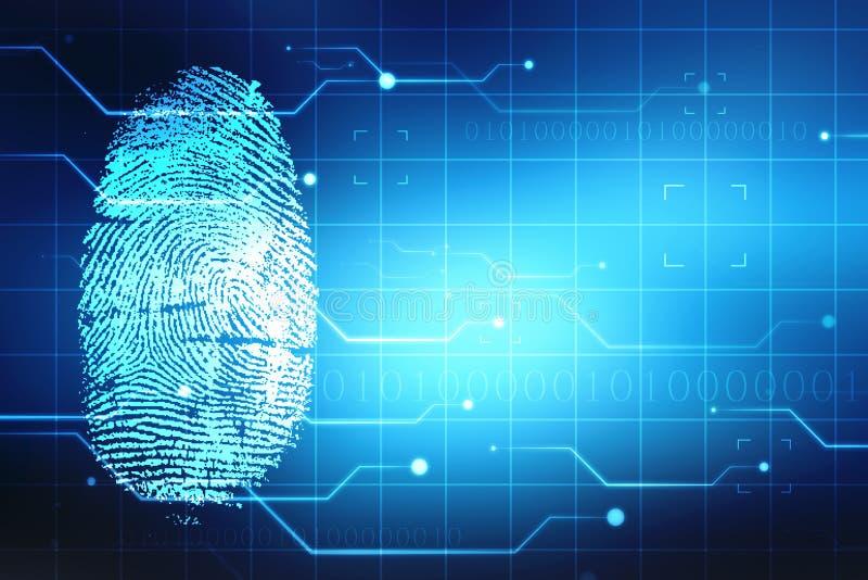 Säkerhetsbegrepp, fingeravtryck som avläser på den digitala skärmen Uttrycka av rött färgar lokaliserat över text av vit färgar royaltyfri illustrationer