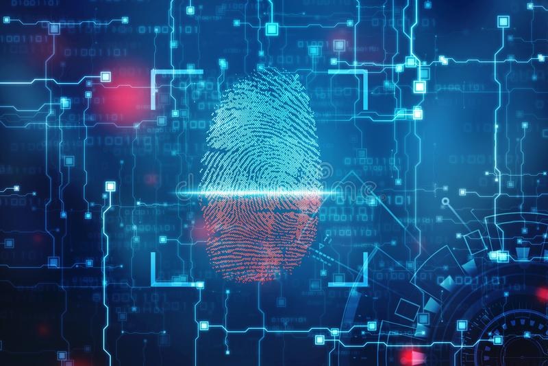 Säkerhetsbegrepp: fingeravtryckscanning på den digitala skärmen 2d illustration arkivbild
