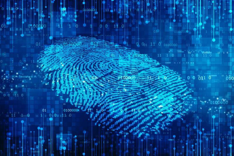 Säkerhetsbegrepp: fingeravtryckscanning på den digitala skärmen 2d illustration vektor illustrationer