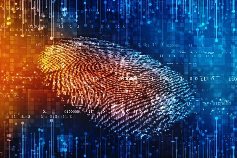 Säkerhetsbegrepp: fingeravtryckscanning på den digitala skärmen 2d illustration stock illustrationer