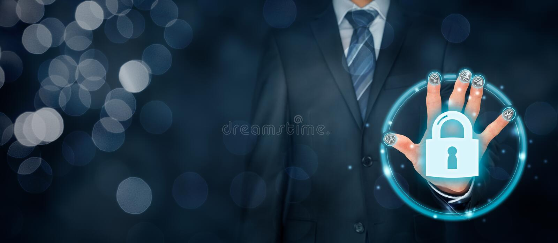 Säkerhetsbegrepp med fingeravtryckhandlagID och authe royaltyfri bild
