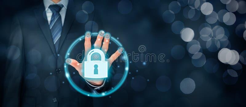Säkerhetsbegrepp med fingeravtryckhandlagID och authe royaltyfria foton
