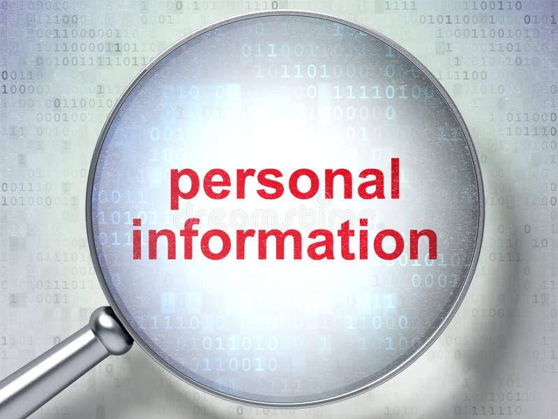 Säkerhetsbegrepp: Personlig information med optiskt exponeringsglas stock illustrationer