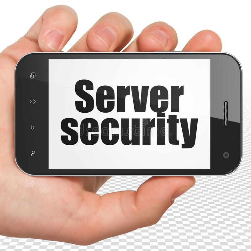 Säkerhetsbegrepp: Räcka hållande Smartphone med serversäkerhet på skärm arkivbilder