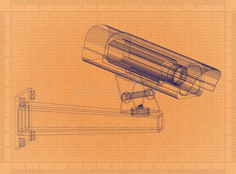 Säkerhetsbevakningkamera - Retro ritning royaltyfri illustrationer