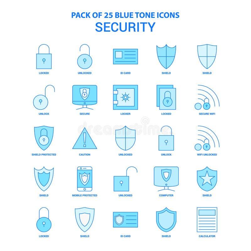Säkerhetsblått Tone Icon Pack - 25 symbolsuppsättningar stock illustrationer