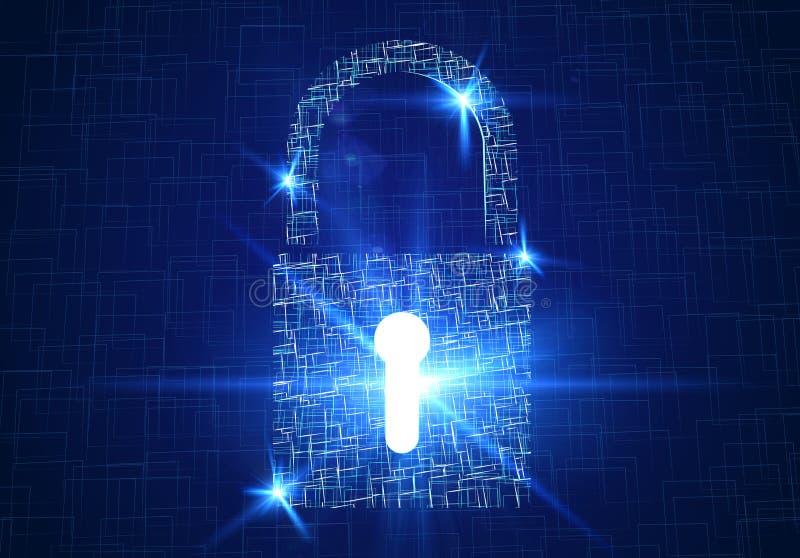 Säkerhetshänglås, internetsäkerhet, kränkning, avskildhet Säkert lösenord mot en hacker vektor illustrationer