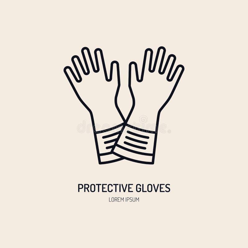 Säkerhetshandskar, linje symbol för handskyddslägenhet Vektorlogo för personlig skyddsutrustninglager Säkert arbete gör tunnare vektor illustrationer