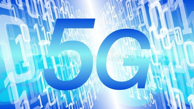 säkerhetshot för trådlöst nätverk 5G, futuristisk bakgrund för binär kod för vektor för teknologibegreppsbakgrund blå stock illustrationer