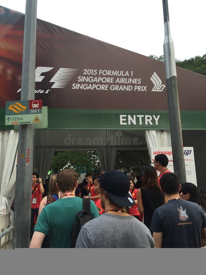 Säkerhetsingång till den Singapore F1 granda prixen 2015 på Marina Bay, Singapore 18 Sept 2015 arkivfoto