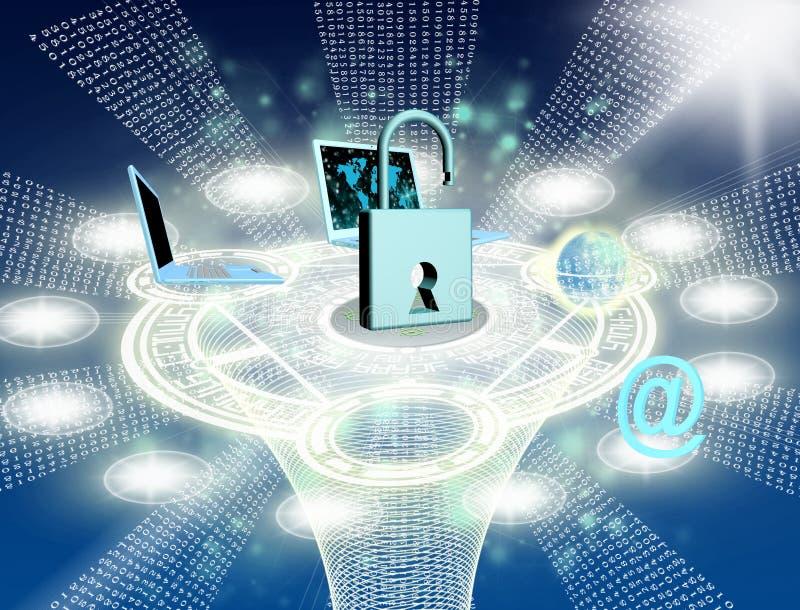 Säkerhetsinternetbegrepp stock illustrationer