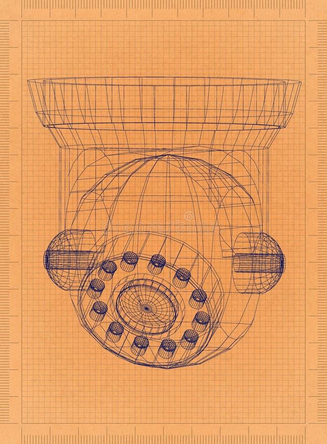 Säkerhetskamera - Retro ritning stock illustrationer