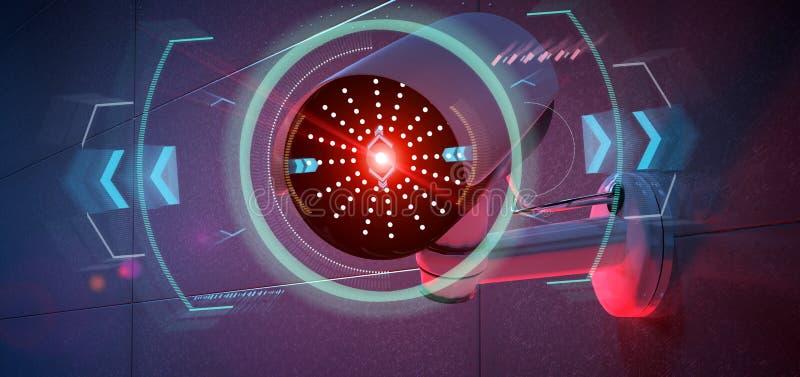 Säkerhetskamera som uppsätta som mål en avkänd inhopp - renderinga 3d vektor illustrationer
