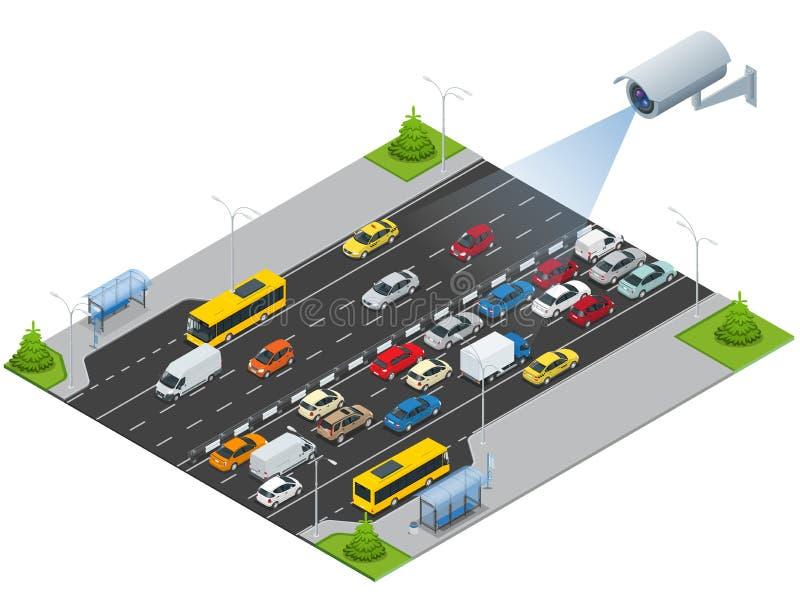 Säkerhetskameran avkänner rörelsen av för att trafikera Cctv-säkerhetskameran på isometrisk illustration av trafikstockning med r royaltyfri illustrationer