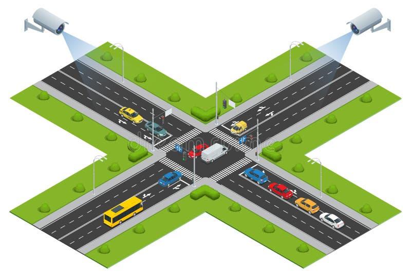 Säkerhetskameran avkänner rörelsen av för att trafikera Cctv-säkerhetskameran på isometrisk illustration av trafikstockning med r vektor illustrationer