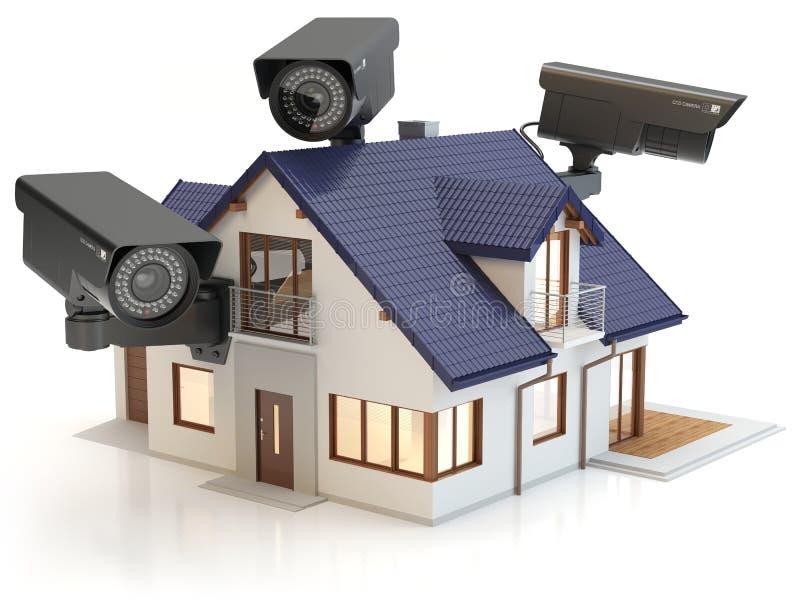 3 säkerhetskameror och hus, illustration 3D royaltyfri illustrationer