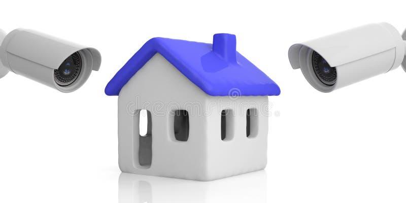 Säkerhetskameror som håller ögonen på ett hus med det blåa färgtaket som isoleras mot vit bakgrund illustration 3d stock illustrationer