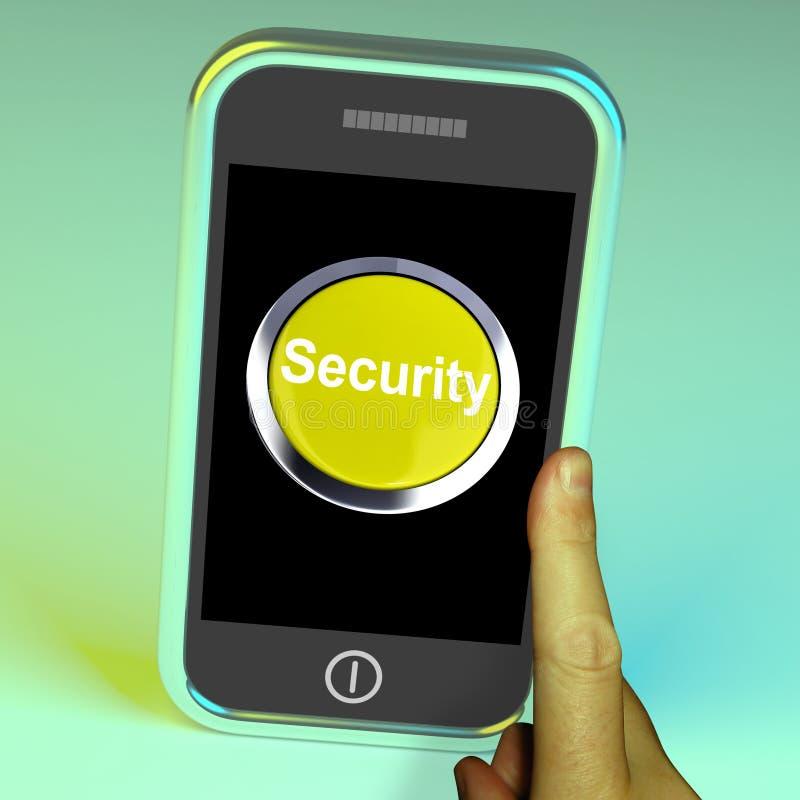 Säkerhetsknapp på mobil stock illustrationer