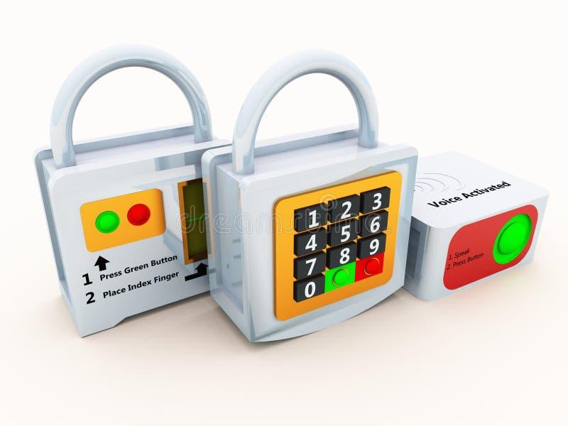 säkerhetslösningar stock illustrationer