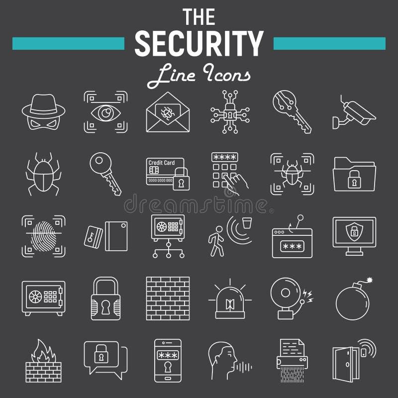 Säkerhetslinjen symbolsuppsättningen, cyberskydd undertecknar vektor illustrationer