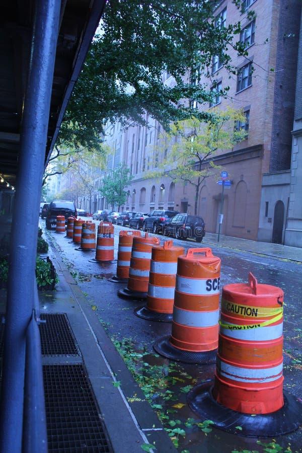 Säkerhetsmått i NYC som förbereder för orkan royaltyfria bilder