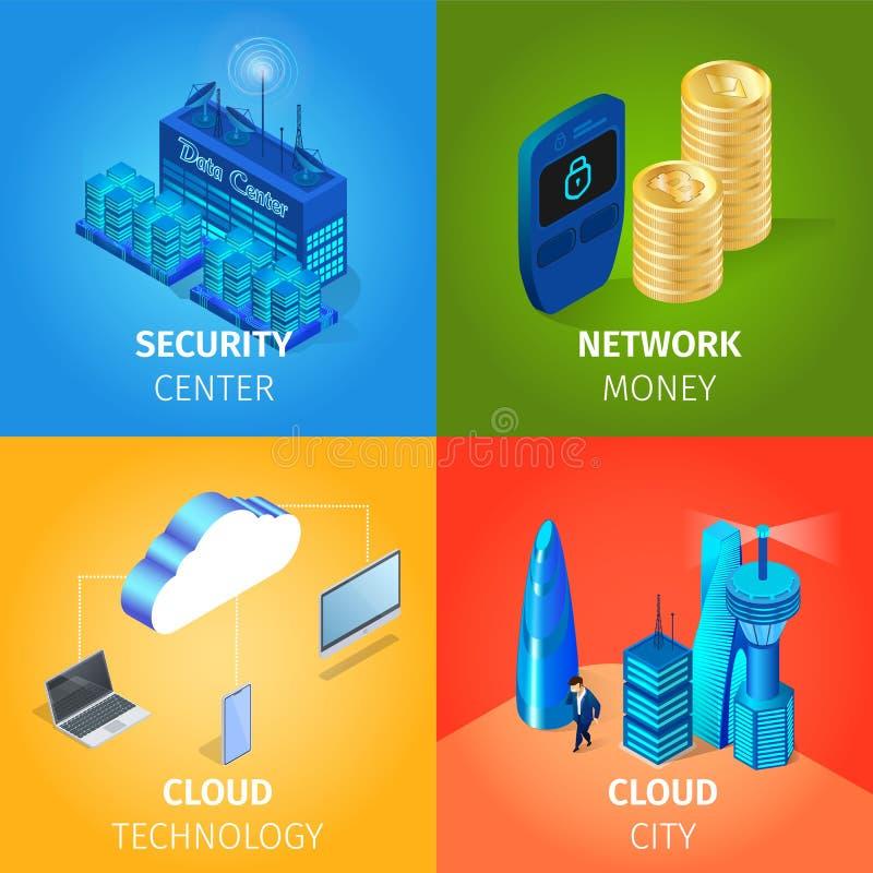 Säkerhetsmitt, nätverkspengar, molnteknologi vektor illustrationer