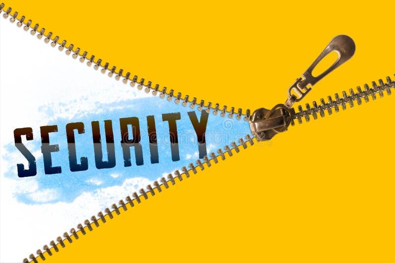 Säkerhetsord under blixtlåset royaltyfri foto
