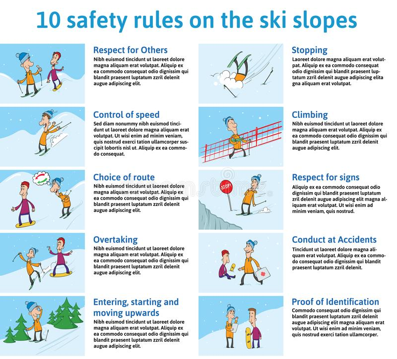 10 säkerhetsregler på Ski Slopes Berg Ski Safety Instructions Vektorillustration för broschyr eller information stock illustrationer