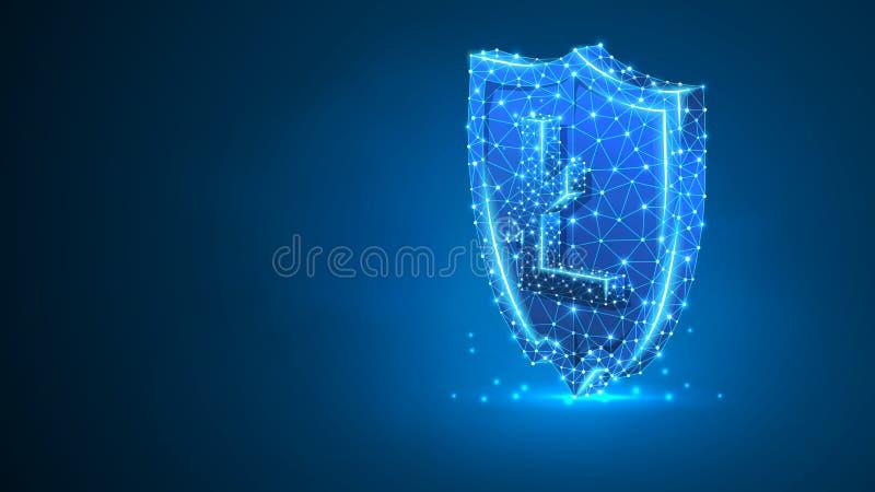 Säkerhetssköld, Litecoin cryptocurrencytecken Polygonal affärssäkerhet, pengarskyddsbegrepp Abstrakt digitalt royaltyfri illustrationer