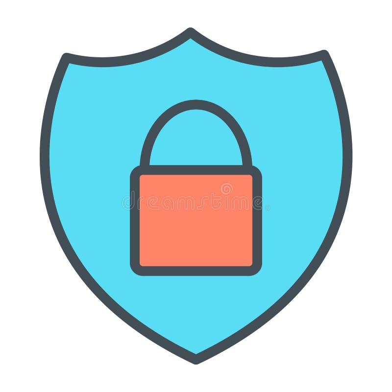 Säkerhetssköld med linjen symbol 48x48 för perfekt vektor för låsPIXEL den tunna Enkel minsta Pictogram royaltyfri illustrationer