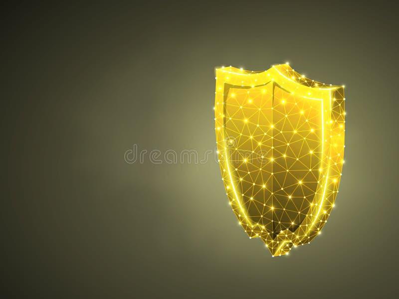 Säkerhetssköldabstrakt begrepp färgrik 3d Polygonal vektoraffärsidé av säkerhet, dataskydd Låg poly wireframe stock illustrationer