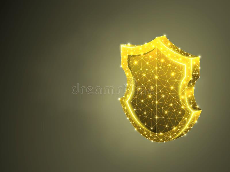 Säkerhetssköldabstrakt begrepp färgrik 3d Polygonal vektoraffärsidé av säkerhet, dataskydd Låg poly wireframe royaltyfri illustrationer